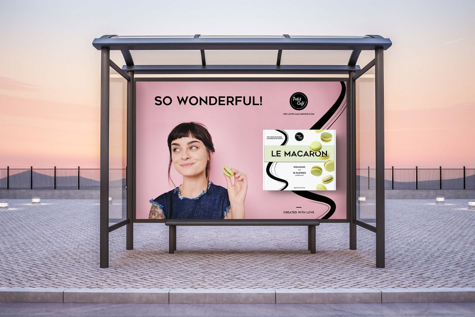 bus stop with big horizontal advertisement